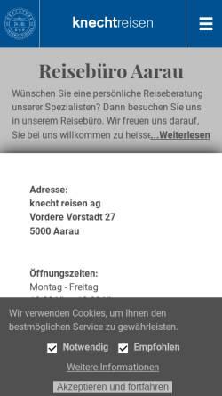 Vorschau der mobilen Webseite www.knecht-reisen.ch, Knecht Reisen