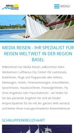 Vorschau der mobilen Webseite www.mediareisen.ch, Media Reisen