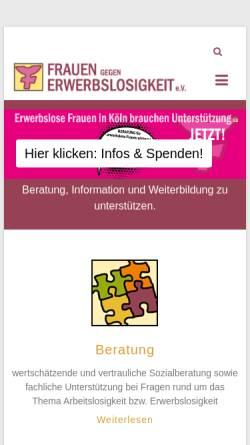 Vorschau der mobilen Webseite www.frauen-erwerbslos.de, Frauen gegen Erwerbslosigkeit e.V.