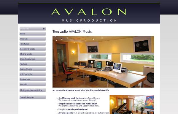 Vorschau von www.avalon-music.ch, AVALON Music Production AG