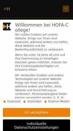 Vorschau der mobilen Webseite www.hofa-college.de, Hofa Studios