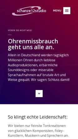 Vorschau der mobilen Webseite schanze12studio.de, schanze12studio