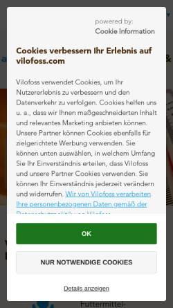 Vorschau der mobilen Webseite www.vilomix.de, Deutsche Vilomix Tierernährung GmbH