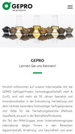 Vorschau der mobilen Webseite www.ge-pro.de, GePro - Geflügel-Protein GmbH & Co. KG