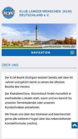 Vorschau der mobilen Webseite www.klm-stuttgart.de, Klub langer Menschen (KLM) Deutschland e.V. Bezirk Stuttgart