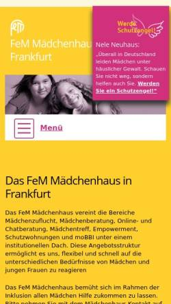 Vorschau der mobilen Webseite www.fem-maedchenhaus.de, FeM - Mädchenhaus Frankfurt