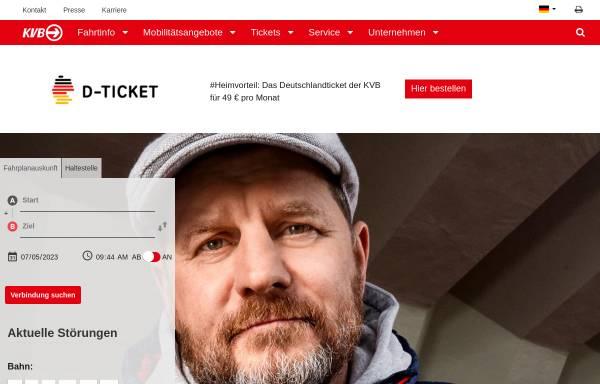 Vorschau von www.kvb-koeln.de, Kölner Verkehrsbetriebe AG