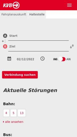 Vorschau der mobilen Webseite www.kvb-koeln.de, Kölner Verkehrsbetriebe AG
