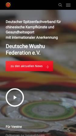 Vorschau der mobilen Webseite www.wushudwf.de, Deutsche Wushu Federation e.V.