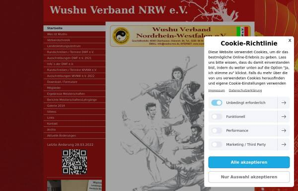 Vorschau von www.wushu-nrw.de, Wu Shu Regionalverband im Rheinland