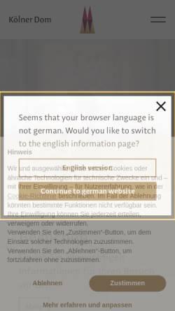 Vorschau der mobilen Webseite www.koelner-dom.de, Der Dom