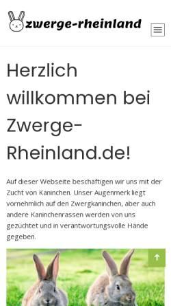 Vorschau der mobilen Webseite www.zwerge-rheinland.de, Hermelin- und Farbenzwergeclub Rheinland