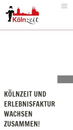 Vorschau der mobilen Webseite www.koelnzeit.de, Kölnzeit GbR, Oliver Fox und Thomas Helmer