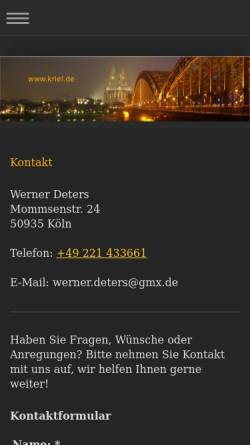 Vorschau der mobilen Webseite www.kriel.de, Wetterstation Köln-Kriel