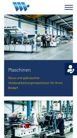 Vorschau der mobilen Webseite www.wehrmann-maschinen.de, Wehrmann Holzbearbeitungsmaschinen GmbH & Co. KG
