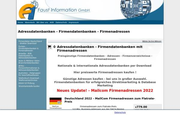 Vorschau von www.adressdatenbanken.de, Faust Information GmbH