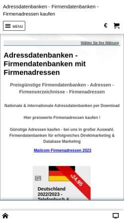 Vorschau der mobilen Webseite www.adressdatenbanken.de, Faust Information GmbH