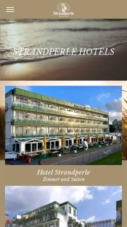 Vorschau der mobilen Webseite www.strandperle-hotels.de, Strandperle Hotels