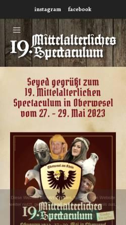 Vorschau der mobilen Webseite www.spectaculum-oberwesel.de, Mittelalterliches Spectaculum in Oberwesel