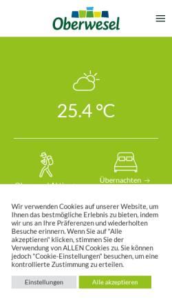 Vorschau der mobilen Webseite www.oberwesel.de, Oberwesel