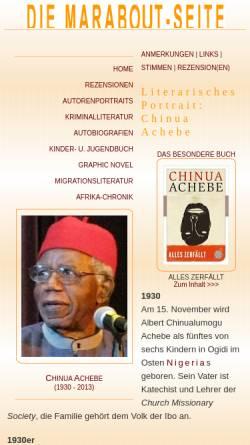 Vorschau der mobilen Webseite www.marabout.de, Chinua Achebe