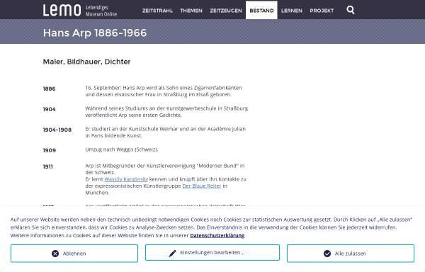 Vorschau von www.dhm.de, Biographie: Hans Arp, 1887-1966