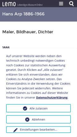 Vorschau der mobilen Webseite www.dhm.de, Biographie: Hans Arp, 1887-1966