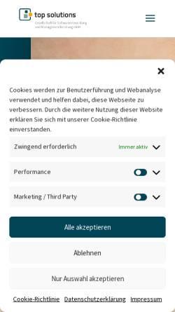 Vorschau der mobilen Webseite www.topsolutions.de, top solutions