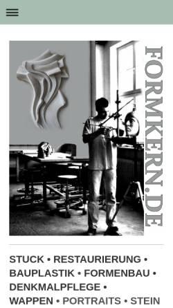 Vorschau der mobilen Webseite www.bildhauerwerkstatt-altona.de, Bildhauerwerkstatt Altona / Formkern.de - Timm Metzler