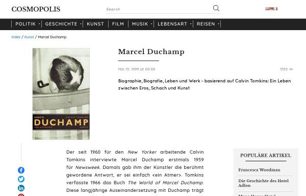 Vorschau von www.cosmopolis.ch, Marcel Duchamp - Cosmopolis - Nr. 3, 15. Mai/14. Juni 1999