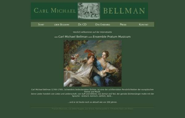 Vorschau von www.bellman.ch, Schweizer Carl Michael Bellman-Seite