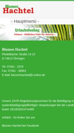 Vorschau der mobilen Webseite www.blumen-hachtel.de, Blumen Hachtel