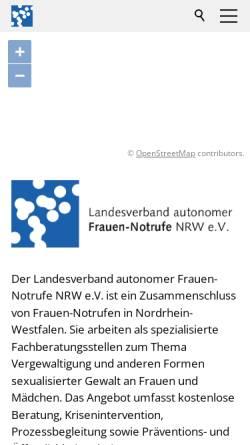 Vorschau der mobilen Webseite www.frauennotrufe-nrw.de, LAG autonomer Frauen-Notrufe in NRW