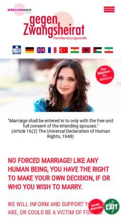 Vorschau der mobilen Webseite zwangsheirat-nrw.de, Nein zur Zwangsheirat