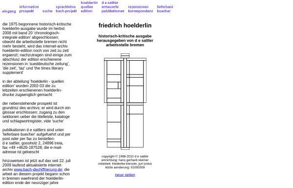 Vorschau von www.hoelderlin.de, Friedrich Hölderlin - Dokumente und Edition