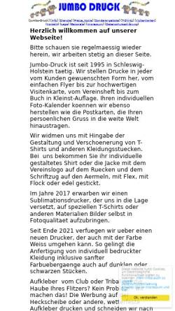 Vorschau der mobilen Webseite www.jumbo-druck.de, Jumbo Druck, Joh. Bormann