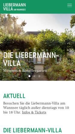 Vorschau der mobilen Webseite www.max-liebermann.de, Max-Liebermann-Gesellschaft Berlin e.V.
