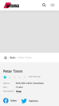 Vorschau der mobilen Webseite www.prisma.de, Prisma Online: Peter Timm