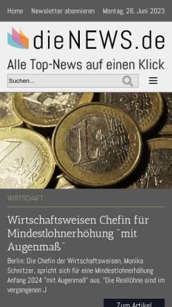 Vorschau der mobilen Webseite www.dienews.de, Die-News.de