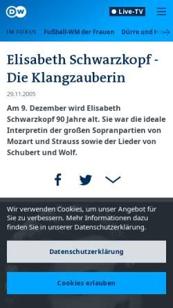 Vorschau der mobilen Webseite www.dw-world.de, Elisabeth Schwarzkopf - Die Klangzauberin