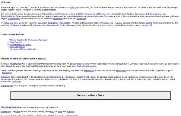 Vorschau von www.philolex.de, Spinoza im Philolex von Peter Möller