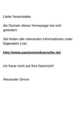 Vorschau der mobilen Webseite www.pantomime-comedy.de, Simon, Alexander