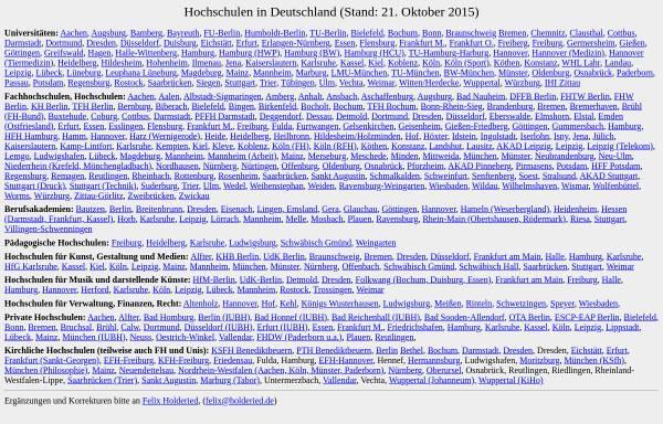 Vorschau von www.holderied.de, Hochschulen in Deutschland