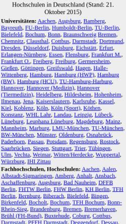 Vorschau der mobilen Webseite www.holderied.de, Hochschulen in Deutschland