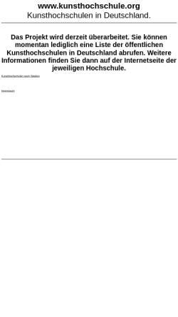 Vorschau der mobilen Webseite www.kunsthochschule.org, Kunsthochschulen in Deutschland
