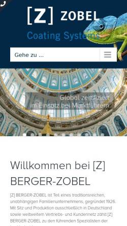 Vorschau der mobilen Webseite www.zobel-coatings.de, Berger-Zobel GmbH