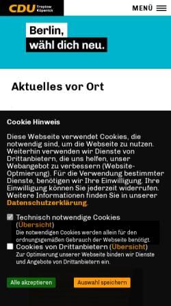 Vorschau der mobilen Webseite www.cdu-tk.de, CDU Treptow-Köpenick