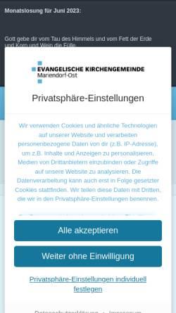 Vorschau der mobilen Webseite mariendorf-ost.de, Evangelische Kirchengemeinde Mariendorf