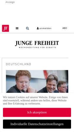Vorschau der mobilen Webseite jungefreiheit.de, Junge Freiheit