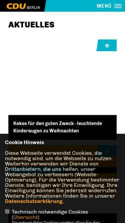 Vorschau der mobilen Webseite www.cdu-friedenau.de, CDU Friedenau